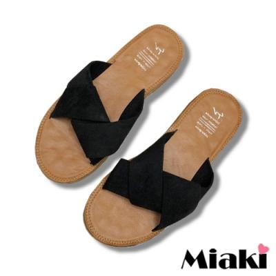 Miaki-拖鞋夏季韓風亮色軟底涼鞋-黑