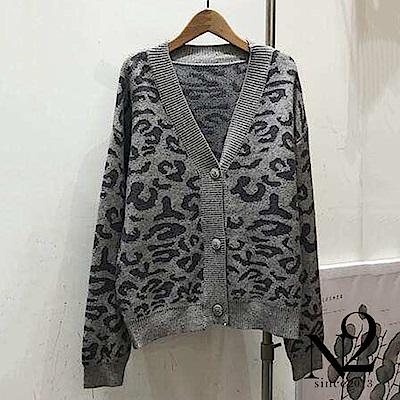 外套 正韓V領豹紋開釦毛衣針織外套(灰) N2