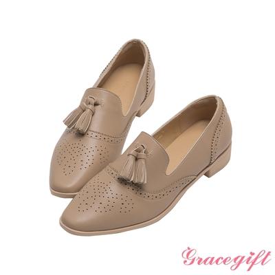 Grace gift-牛津學院流蘇樂福鞋 灰褐