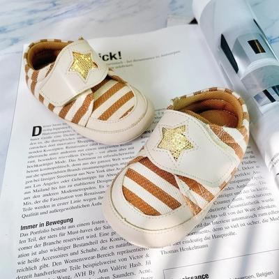 Swan天鵝童鞋-度假風條紋寶寶學步鞋 1486 卡其