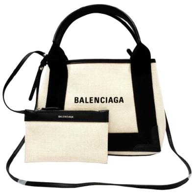 BALENCIAGA NAVY系列帆布X牛皮飾邊手提/肩背托特包(白色-XS號)