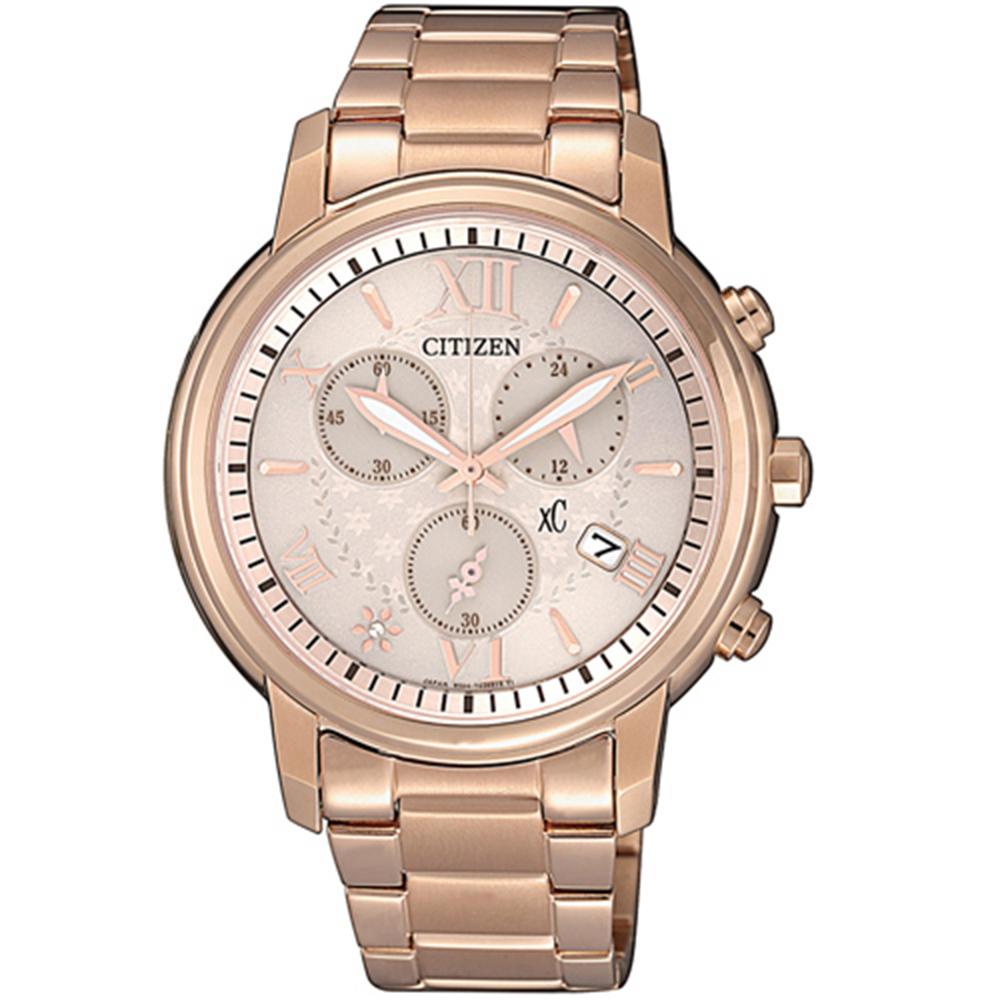 CITIZEN 星辰XC 亞洲限定光動能計時女錶-玫瑰金框FB1432-63W