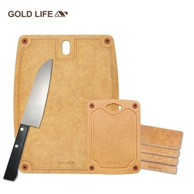 GOLD LIFE 美國原木不吸水抗菌砧板( L+菱形孔S ) 再送GOLD LIFE日式主廚刀+GOLD LIFE砧板架