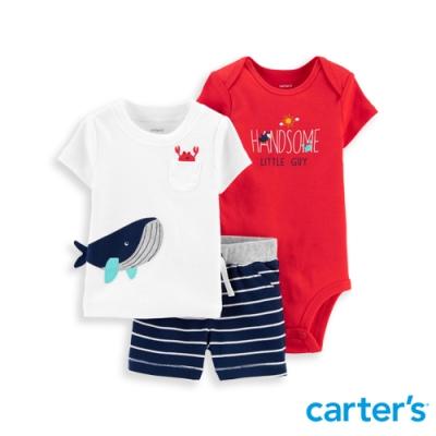 【Carter's】 海灘風抹香鯨3件組套裝(上衣/短褲)(6M-12M) 任選 (台灣總代理)