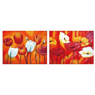 美學365 二聯 時尚無框畫掛畫- 艷紅花語 30x40cm