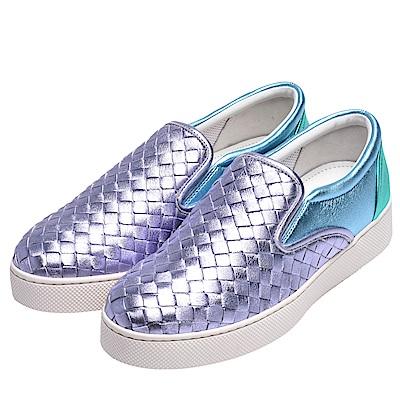 BOTTEGA VENETA 經典DODGER編織金屬光澤小羊皮休閒鞋(紫色)