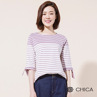 CHICA 日常俏皮袖綁帶配色條紋上衣(2色)