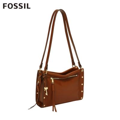 FOSSIL ALLIE 個性鉚釘焦糖色手提肩側背包 ZB7896213