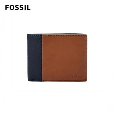 FOSSIL 母親節優惠 WARD 真皮帶翻轉證件格RFID男夾-深藍X褐色 ML4164400