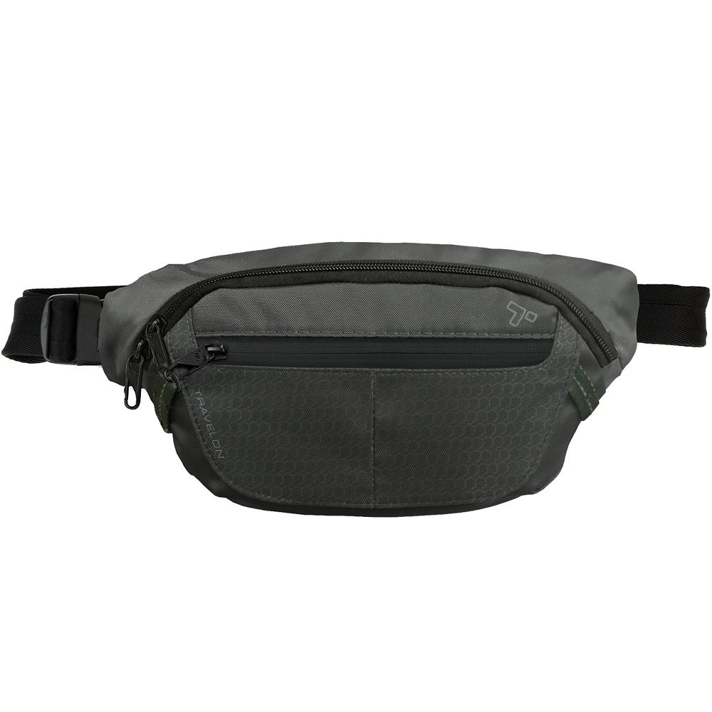 TRAVELON RFID三層防盜腰包(黑0.5L)