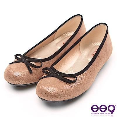ee9 MIT經典手工質感簡約蝴蝶結超輕豆豆娃娃鞋 咖色