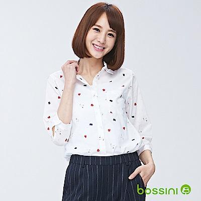 bossini女裝-印花七分袖襯衫02白
