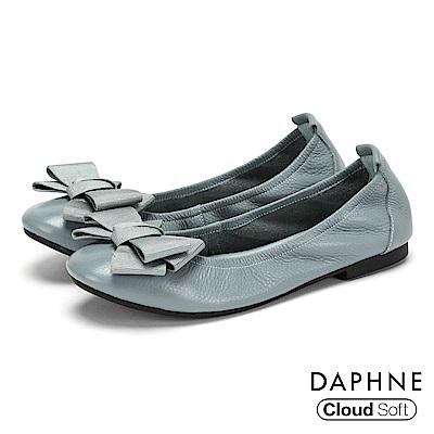 達芙妮DAPHNE 娃娃鞋-質感牛皮蝴蝶結雲軟鞋墊娃娃鞋-淺藍