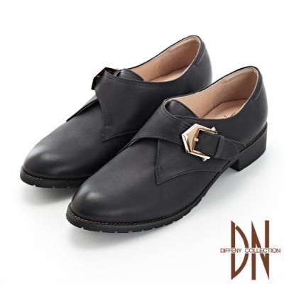 DN跟鞋_ MIT雅痞全真皮金屬釦魔鬼氈跟鞋-黑