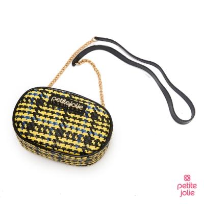 Petite Jolie--小香風花呢布鍊帶小包-黃色