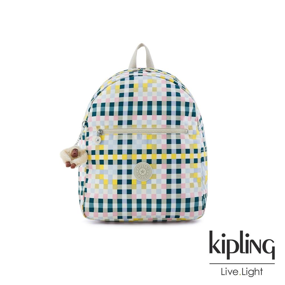 Kipling 清爽多彩格紋簡約時尚拉鍊後背包-WINNIFRED L