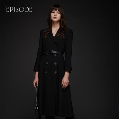 EPISODE - 黑色西裝領雙排扣時尚修身長洋裝