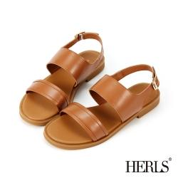 HERLS涼鞋-油蠟牛皮簡約雙寬帶露趾平底涼鞋-棕色