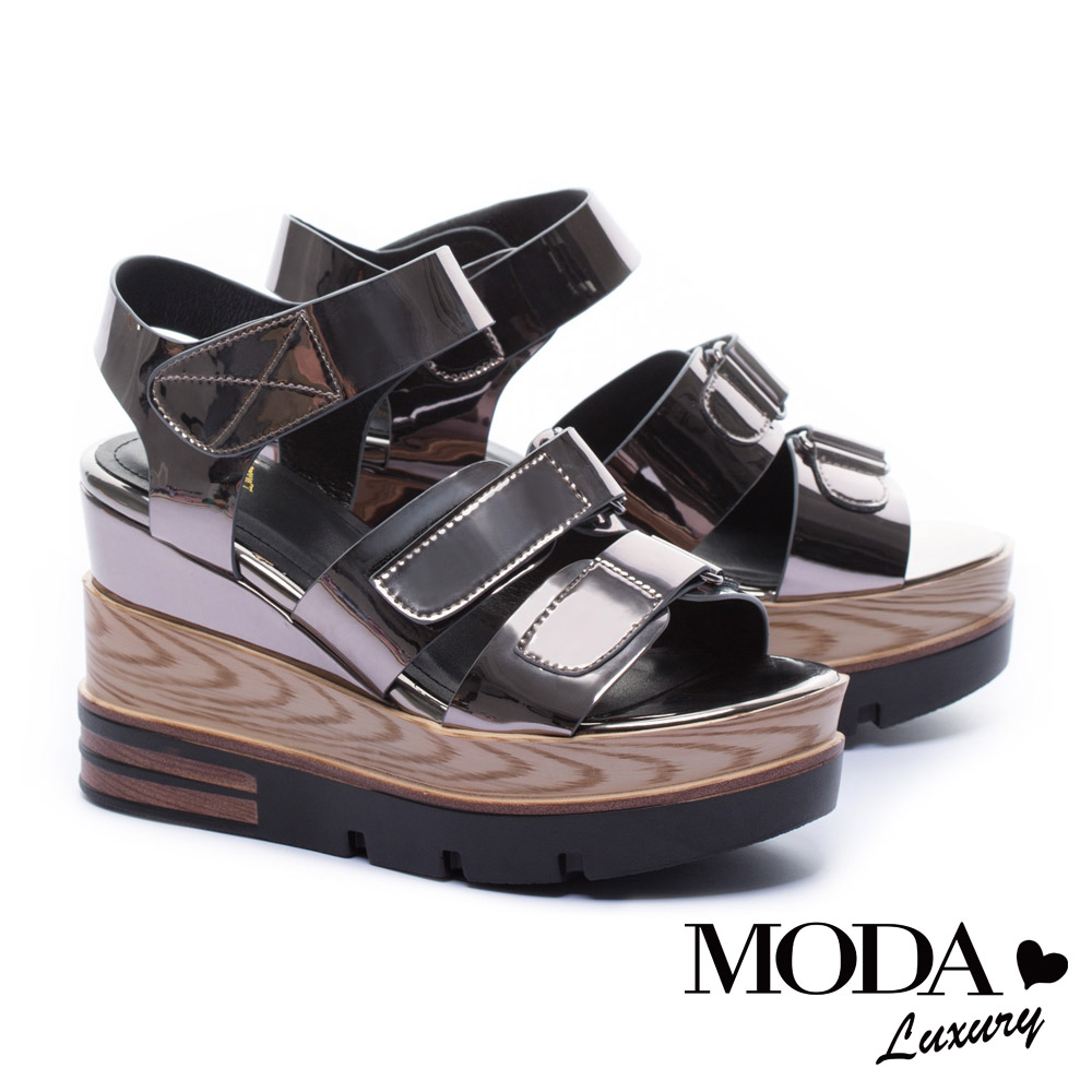 涼鞋 MODA Luxury 夏日個性鏡面條帶厚底涼鞋-古銅