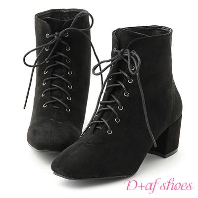 D+AF 潮模穿搭.綁帶絨料方頭中跟短靴*黑