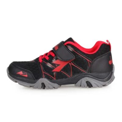 DIADORA 男女中童戶外越野跑鞋-登山 露營 童鞋 黑紅