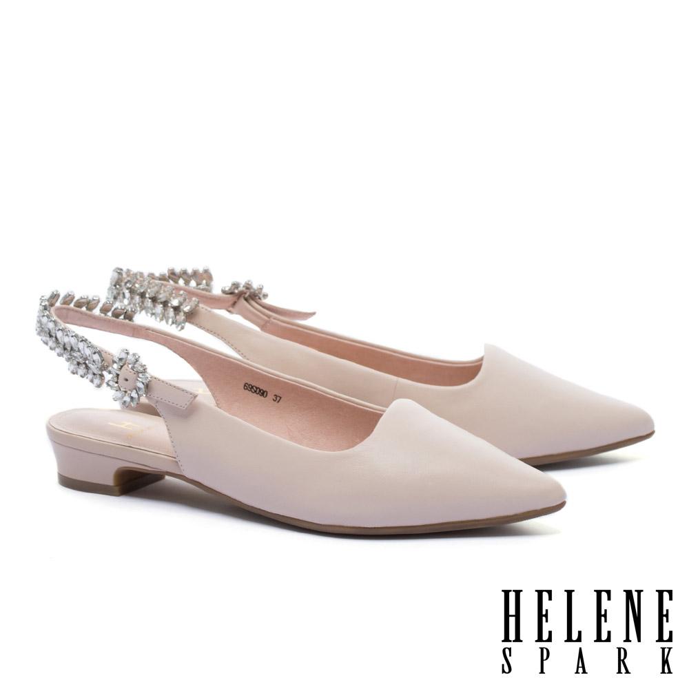 低跟鞋 HELENE SPARK 華麗晶鑽繫帶羊皮尖頭低跟鞋-粉