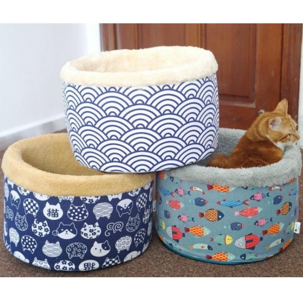 寵喵樂 日本風保暖深度圓桶睡窩 (顏色隨機)