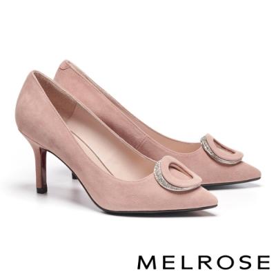 高跟鞋 MELROSE 精緻高雅白鑽橢圓飾釦尖頭美型高跟鞋-粉