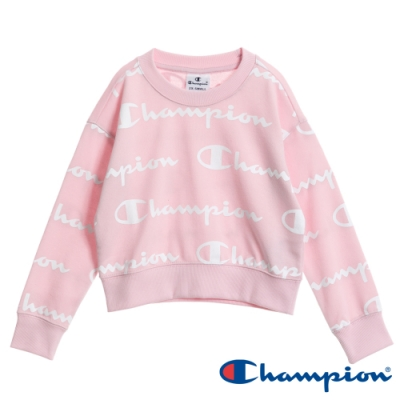 Champion EU童滿版Logo短版大學Tee 粉紅色