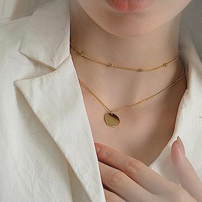 梨花HANA  韓國冷淡風格極簡百搭小金珠雙層短項鍊