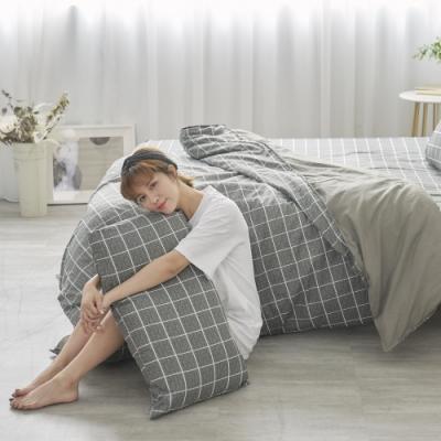 BUHO 天然嚴選純棉雙人加大三件式床包組(酷淨森澈)