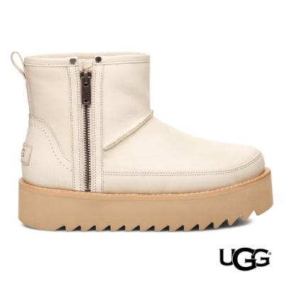 UGG短靴 Rebel Biker拉鍊皮革 白色個性厚底靴