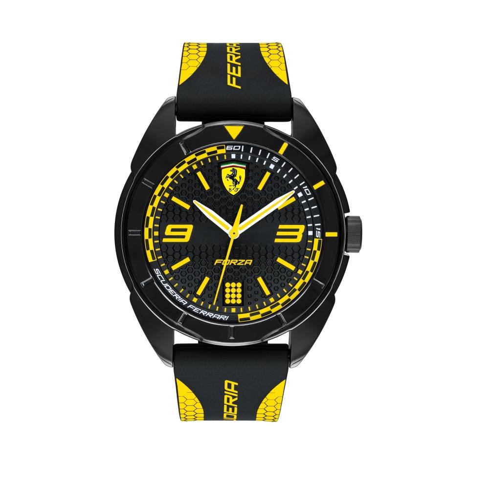 FERRARI 輪胎紋大三針橡膠時尚腕錶/黃/0830516