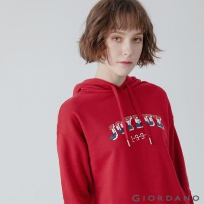 GIORDANO  女裝經典CAMPUS連帽T恤 - 42 標誌紅