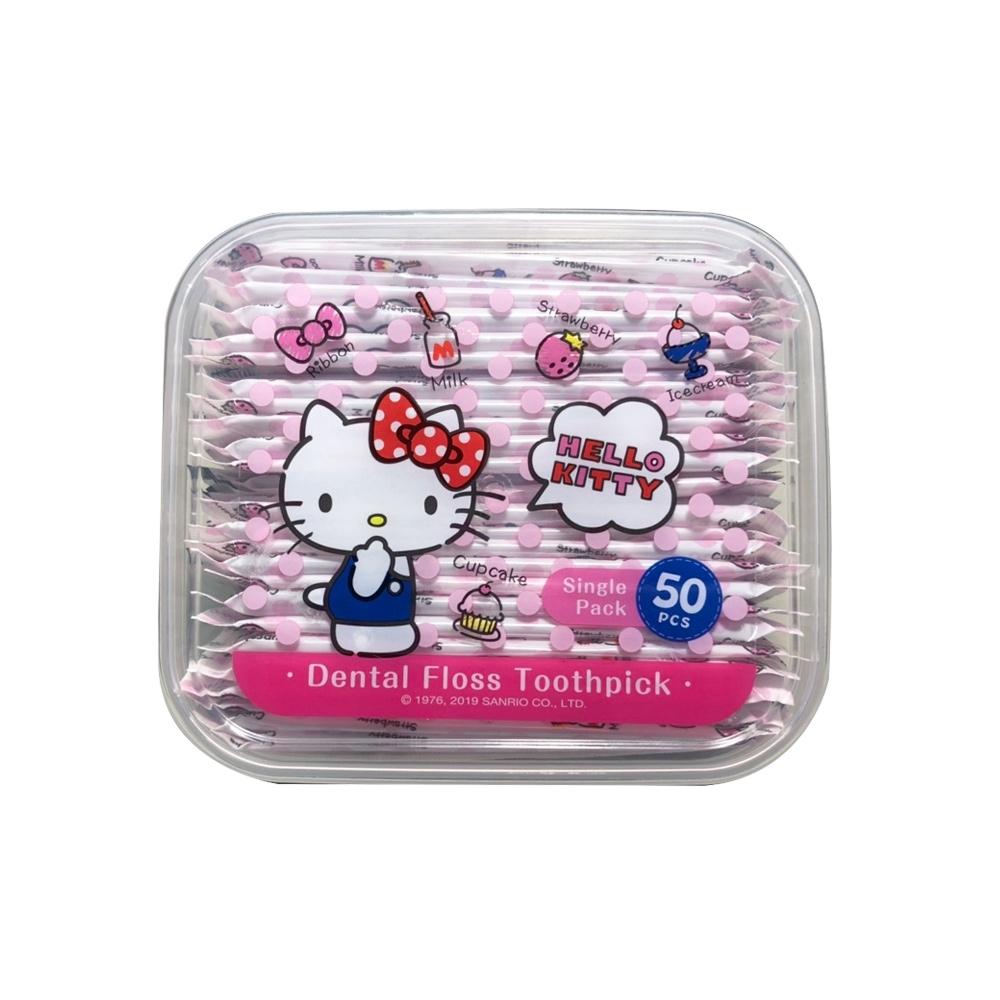Hello Kitty 凱蒂貓單支攜帶型牙線棒 50支(盒裝) X 12 盒 外盒可當密封收納盒