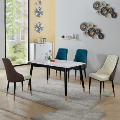 MUNA 莫里蒂4.5尺玻璃餐桌(1桌4椅)米白色皮餐椅 136X81X74.5cm