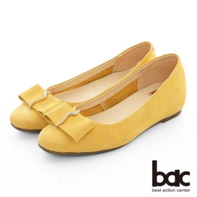 【bac】復古風潮 - 麂皮小方頭鑽飾平底鞋-黃