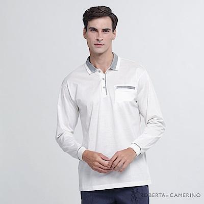 ROBERTA諾貝達 台灣製 都會時尚 純棉長袖POLO棉衫  白