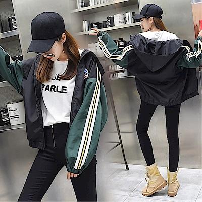 DABI 韓國學院風學生拼色織帶貼標棒球服短外套