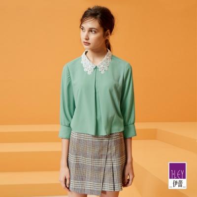 ILEY伊蕾 浪漫花型襯衫領層次雪紡上衣(粉/綠)