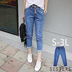 小男友水洗刷色抽繩鬆緊腰牛仔褲(S-3L) SISTERS