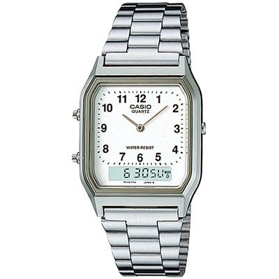 CASIO 銀色復古風雙顯腕錶-數字刻度(AQ-230A-7B)/30mm