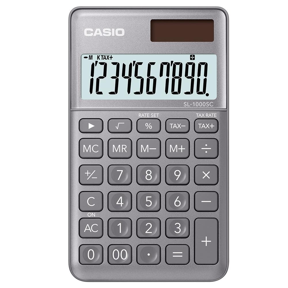 CASIO 10位元時尚霧面系列攜帶型計算機(SL-1000SC-GY)-光澤灰