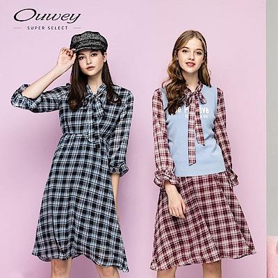 OUWEY歐薇 格紋領口綁帶造型長版洋裝(藍/紅)