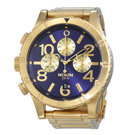 NIXON 48-20 CHRONO 潮流重擊運動腕錶-金X藍(A4861922)