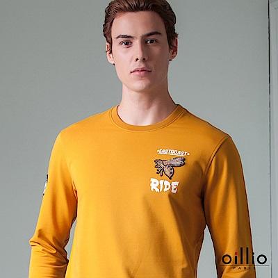 歐洲貴族 oillio 長袖T恤 經典電腦刺繡 立體質感電繡 黃色
