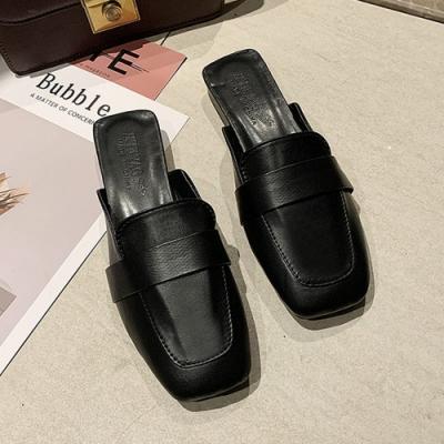 KEITH-WILL時尚鞋館 時尚風格簡約素面穆勒鞋-黑
