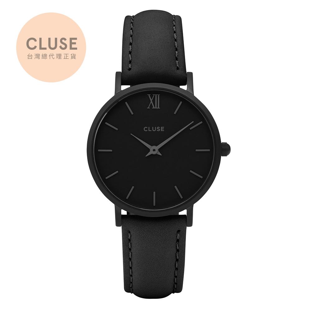 【公司貨】CLUSE Minuit 午夜系列腕錶(霧黑框/霧黑錶面/黑錶帶)