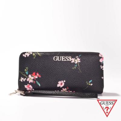 GUESS-女夾-時尚印花壓紋長夾-黑