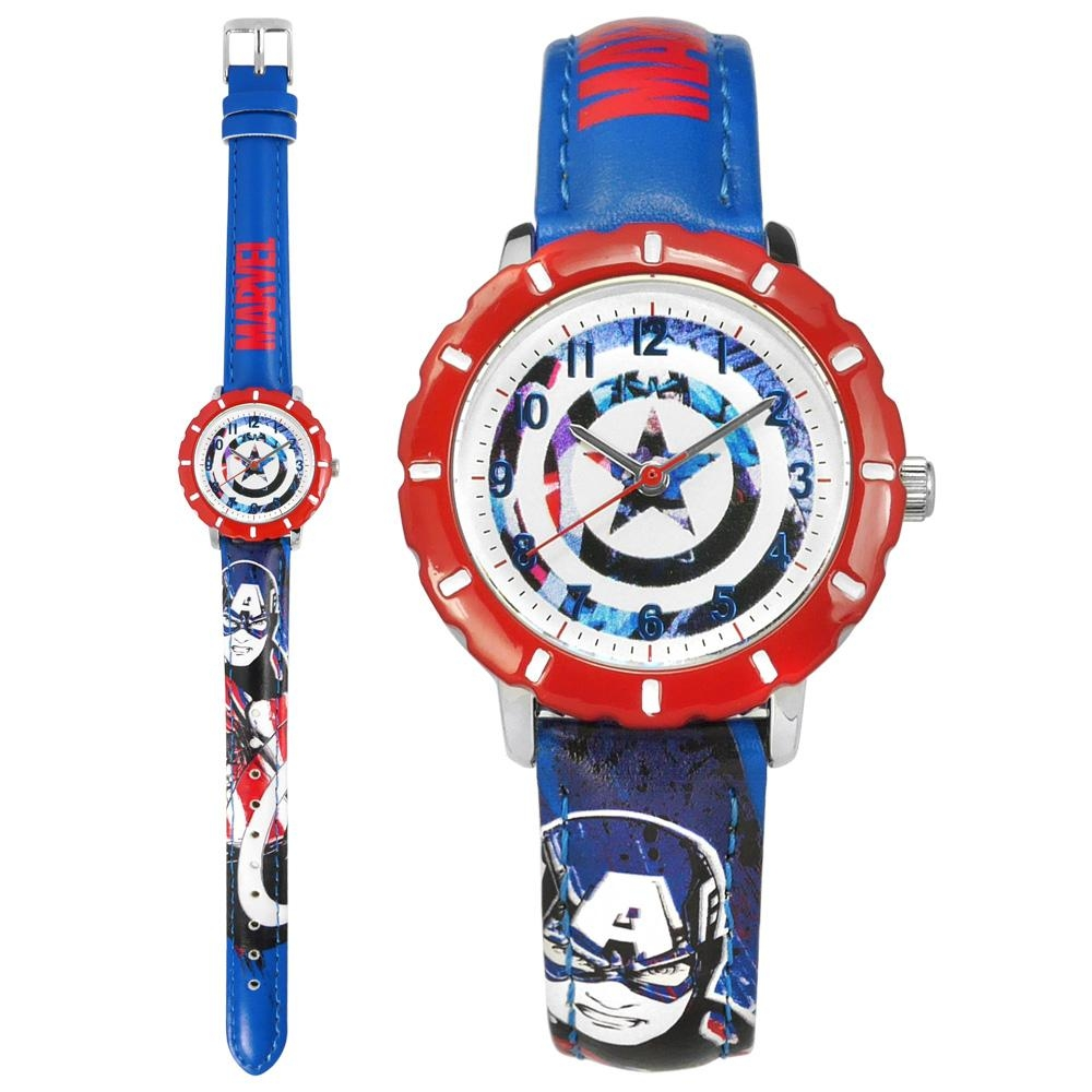 Disney 迪士尼 漫威系列 美國隊長 兒童卡通 皮革手錶-白x紅框x藍/31mm